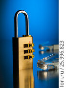 The concept of an encrypted Internet connection. Golden padlock., фото № 25996823, снято 14 апреля 2017 г. (c) Александр Якимов / Фотобанк Лори