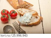 Купить «fresh blue cheese spread ove french baguette», фото № 25996943, снято 14 апреля 2017 г. (c) Francesco Perre / Фотобанк Лори
