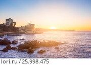 Evening view of Valparaiso Bay, in Vina del Mar, Chile (2016 год). Стоковое фото, фотограф Юрий Губин / Фотобанк Лори
