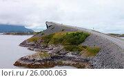 Купить «Atlantic Ocean Road Norwegian Construction of the Century», видеоролик № 26000063, снято 28 марта 2017 г. (c) Андрей Армягов / Фотобанк Лори