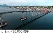 Купить «Bridge of city Tromso, Norway Aerial footage», видеоролик № 26000099, снято 13 сентября 2016 г. (c) Андрей Армягов / Фотобанк Лори