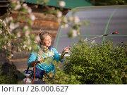 Женщина поливает деревья и растения в саду (2016 год). Редакционное фото, фотограф Александр Новиков / Фотобанк Лори