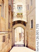 Купить «old street of european city. Girona», фото № 26001715, снято 12 июня 2014 г. (c) Яков Филимонов / Фотобанк Лори