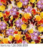 Бесшовный цветочный фон с разноцветными анютиными глазками. Стоковое фото, фотограф Galina Barbieri / Фотобанк Лори