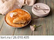 Купить «Греческий, сладкий, молочный пирог на манной крупе с лимонным сиропом (галактобуреко)», фото № 26010435, снято 1 апреля 2017 г. (c) Татьяна Ляпи / Фотобанк Лори