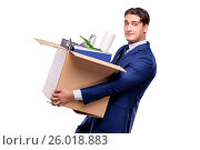 Купить «Businessman made redundant fired after dismissal», фото № 26018883, снято 4 октября 2016 г. (c) Elnur / Фотобанк Лори