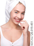 Beautiful girl with towel on her head, фото № 26019451, снято 24 марта 2012 г. (c) Tatjana Romanova / Фотобанк Лори