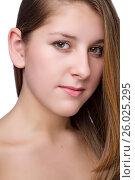 Купить «Close-up portrait of beautiful young woman», фото № 26025295, снято 27 января 2012 г. (c) Tatjana Romanova / Фотобанк Лори