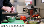 Купить «hands of male chef cook peeling onion in kitchen», видеоролик № 26025359, снято 23 мая 2019 г. (c) Syda Productions / Фотобанк Лори