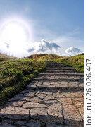 Купить «Лестница из натурального камня к солнцу», фото № 26026407, снято 9 сентября 2015 г. (c) Евгений Ткачёв / Фотобанк Лори
