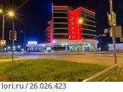 Купить «Ночной вид на отель Park Inn by Radisson. Нижний Тагил. Россия», фото № 26026423, снято 9 сентября 2015 г. (c) Евгений Ткачёв / Фотобанк Лори