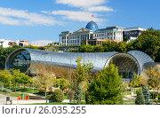 Купить «Presidential Palace of Georgia and Concert Music Theatre Exhibition Hall in Tibilisi, Georgia», фото № 26035255, снято 27 сентября 2016 г. (c) Elena Odareeva / Фотобанк Лори