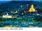 Купить «Night view of center Tbilisi city. Georgia», фото № 26035435, снято 27 сентября 2016 г. (c) Elena Odareeva / Фотобанк Лори