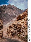 Купить «Dangerous road in Karakorum», фото № 26046155, снято 20 сентября 2019 г. (c) easy Fotostock / Фотобанк Лори