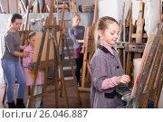 Купить «Children to painting», фото № 26046887, снято 20 февраля 2018 г. (c) Яков Филимонов / Фотобанк Лори