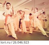 Купить «Young children practicing karate moves», фото № 26046923, снято 25 марта 2017 г. (c) Яков Филимонов / Фотобанк Лори