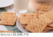 Купить «Still life with soda crackers and milk», фото № 26048715, снято 13 ноября 2016 г. (c) Антон Стариков / Фотобанк Лори