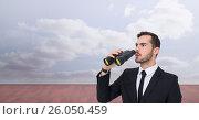 Купить «Shocked businessman looking away while holding binoculars», фото № 26050459, снято 19 февраля 2019 г. (c) Wavebreak Media / Фотобанк Лори
