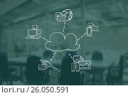 Купить «Digital composite image of cloud surrounded by technologies and documents», иллюстрация № 26050591 (c) Wavebreak Media / Фотобанк Лори