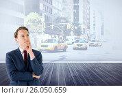 Купить «Businessman thinking in front of city street», фото № 26050659, снято 19 февраля 2019 г. (c) Wavebreak Media / Фотобанк Лори