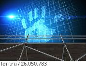 Купить «Hand print interface with 3D Scaffolding», иллюстрация № 26050783 (c) Wavebreak Media / Фотобанк Лори
