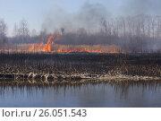 Купить «Весна. Берег реки во льду. Сгоревшая трава. Огонь. На заднем плане водонапорная башня.», фото № 26051543, снято 22 апреля 2017 г. (c) Нина Карымова / Фотобанк Лори