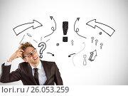 Купить «Digital composite image of confused businessman with question marks and arrow symbols in background», фото № 26053259, снято 19 февраля 2019 г. (c) Wavebreak Media / Фотобанк Лори