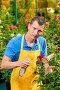 Gardener sprinkles flowers with chemicals in a greenhouse, фото № 26054379, снято 15 июля 2016 г. (c) Константин Лабунский / Фотобанк Лори