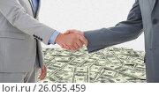 Купить «Business people shaking hands with money in background», фото № 26055459, снято 19 февраля 2019 г. (c) Wavebreak Media / Фотобанк Лори