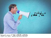 Купить «Digitally generated image of businessman shouting on megaphone emitting music icons», фото № 26055659, снято 19 февраля 2019 г. (c) Wavebreak Media / Фотобанк Лори