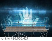 Купить «Identity hand interface with 3D Scaffolding», фото № 26056427, снято 22 августа 2018 г. (c) Wavebreak Media / Фотобанк Лори