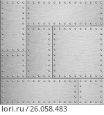Купить «Armor metal plates background 3d illustration», иллюстрация № 26058483 (c) Андрей Кузьмин / Фотобанк Лори
