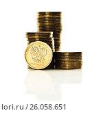 Купить «The Russian rouble coin on white background», фото № 26058651, снято 11 апреля 2017 г. (c) Валерия Потапова / Фотобанк Лори