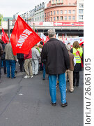 Купить «BERLIN - MAY 01, 2015: Members of trade unions and the workers hold a rally on the occasion of Labour Day.», фото № 26061015, снято 1 мая 2015 г. (c) Sergey Kohl / Фотобанк Лори