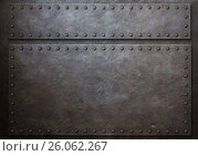 Купить «Two stained steel plates with rivets metal background 3d illustration», иллюстрация № 26062267 (c) Андрей Кузьмин / Фотобанк Лори