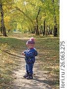 Купить «Pretty baby girl in pink striped cap and blue jacket walking in autumn park», фото № 26063275, снято 25 сентября 2016 г. (c) Шилер Анастасия / Фотобанк Лори