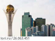 Купить «The Baiterek Monument and the business center with the new architecture of Astana, Kazakhstan», фото № 26063451, снято 23 февраля 2019 г. (c) Андрей Орехов / Фотобанк Лори