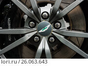 Купить «BERLIN - JUNE 14, 2015: The front brakes of a luxury sports car Aston Martin V8 Vantage N430 (since 2015). The Classic Days on Kurfuerstendamm.», фото № 26063643, снято 14 июня 2015 г. (c) Sergey Kohl / Фотобанк Лори