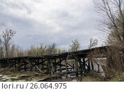 Купить «Старый деревянный мост», фото № 26064975, снято 22 января 2019 г. (c) severe / Фотобанк Лори