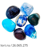 Pile of blue natural mineral gemstones isolated. Стоковое фото, фотограф Zoonar/Valery Voenny / easy Fotostock / Фотобанк Лори