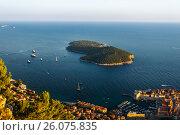 View from the top of the mountain Srdj to the Island of Lokrum in Dubrovnik, Croatia. Стоковое фото, фотограф Андрей Орехов / Фотобанк Лори
