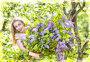 Happy young woman  with a big bouquet of a lilac, фото № 26078579, снято 27 апреля 2017 г. (c) Куликов Константин / Фотобанк Лори