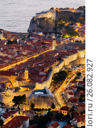 Top view of the old part of Dubrovnik in the evening with illumination. Стоковое фото, фотограф Андрей Орехов / Фотобанк Лори