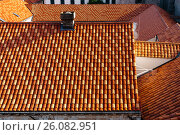 Top view of the roofs of houses in Dubrovnik, Croatia. Стоковое фото, фотограф Андрей Орехов / Фотобанк Лори