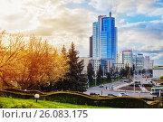 Купить «Belarus, Minsk - April 22, 2017: The city center of Minsk. City landscape. Nemiga.», фото № 26083175, снято 22 апреля 2017 г. (c) Майя Крученкова / Фотобанк Лори