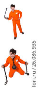 Купить «Young inmate with chains isolated on the white», фото № 26086935, снято 7 апреля 2014 г. (c) Elnur / Фотобанк Лори