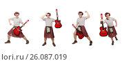 Купить «Scotsman playing guitar isolated on white», фото № 26087019, снято 9 апреля 2014 г. (c) Elnur / Фотобанк Лори