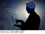 Купить «Businessman in artificial intelligence concept», фото № 26087267, снято 26 октября 2016 г. (c) Elnur / Фотобанк Лори