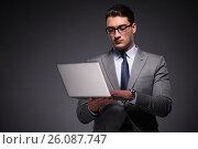 Handsome businessman working on laptop computer. Стоковое фото, фотограф Elnur / Фотобанк Лори