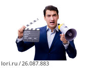 Купить «Handsome man with movie clapper isolated on white», фото № 26087883, снято 5 ноября 2016 г. (c) Elnur / Фотобанк Лори